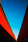 Red palace wall of Forbidden City, Beijing, China - Stock Image - BMF43D