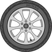 Car Wheel, vector illustration - Stock Image - DNKRNF