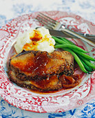 Sliced Roast Pork with Mashed Potatoes and Green Bean - Stock Image - BJM7AW