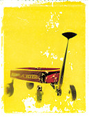 Radio Flyer red wagon. Photo illustration from polaroid transfer. ©mak - Stock Image - CWXT5M