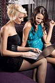 Two pretty girl having fun together - Stock Image - C690A3