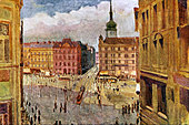 Brno - painting of the Czech city overlooking Liberty Square with trams and people during Janacek's time early 20th century - Stock Image - A2CWY5