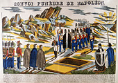 Burial of Napoleon I (Napoleon Bonaparte 1769-1821) on St Helena. From a 19th century French popular print. Colour - Stock Image - D96X6J