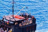 """Black Pearl"" pleasure ship from Ayia Napa at Cape Greco, Cyprus. - Stock Image - E9YYT3"