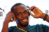 Bejing, China. 20th Aug, 2015. Olympic gold medallist Usain Bolt of Jamaica attends a press conference at NUO Hotel in Bejing, China, 20 August 2015. The International Association of Athletics Federations (IAAF) Athletics World Championships will be held in Beijing from 22 to 30 August 2015. Foto: Christian Charisius/dpa/Alamy Live News - Stock Image - F0R840