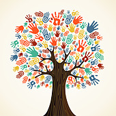 Isolated diversity tree hands illustration. Vector file layered for easy manipulation and custom coloring. - Stock Image - CRX9NR
