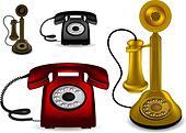Retro telephone - vector illustration - Stock Image - DMAB6H