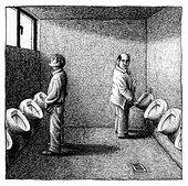 Urinals Mnnertoilette manner view - Stock Image - C99363