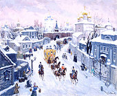 Moscow - Snow scene,  by Bella Manyevich 19thC snow scene, recreated for Russian Film Set Rachmaninov lived here with his - Stock Image - B1B1MK