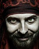 Close up portrait of funny bizzare spooky man - Stock Image - BCENMN