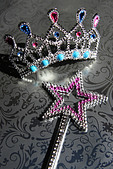 Tiara and a Star Shaped Wand, close-up - Stock Image - AFBYNG