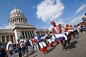 Afrocuban carnival group Los componedores de batea performing in front of the Capitolio in La Habana Vieja Havana Cuba - Stock Image - B2P310