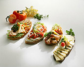 Assorted open sandwiches (Smörgas, Sweden) - Stock Image - BD4XFH