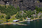 High angle view of canoe rental centers at a fjord, Flamsdalen Valley, Flam, Aurlandsfjord, Sogn Og Fjordane, Norway - Stock Image - B8Y903