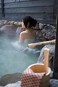 Hot spring Concept Open Air hot spring woman people Beppu Oita Kyushu Japan - Stock Image - B88FHM