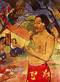 """fine arts, Gauguin, Paul, (1848 - 1903), painting, ""Tahiti woman with fruit"", 1893, oil on canvas, Puschkin museum, Moscow, h - Stock Image - A3YBEG"