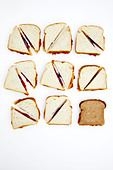 Peanut butter and jelly sandwiches, one on whole wheat bread - Stock Image - C81XE0