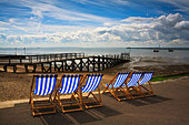 Vacant deckchairs at Southend on Sea, Essex, England - Stock Image - B4YAFK