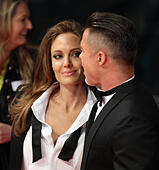 London, UK, 16th February 2014. Angelina Jolie and Brad Pitt attend the EE British Academy Film Awards 2014 at The Royal Opera House in London, UK © Simon Matthews/Alamy Live News - Stock Image - DTEFYE