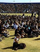 epa04228915 Over 18,000 people, mostly students, attend a memorial event for the six UCSB students killed and 13 wounded in a shooting rampage in the college town of Isla Vista, at Harder Stadium at the University of California in Goleta, California, USA, 27 May 2014. The suspected gunman, 22-year-old student Elliot Rodger, killed six people and wounded 13 as he drove through the college town shooting as well as running over victims in his BMW car before he died from a self-inflicted wound. Over 18,000 people mainly students attended the memorial service.  EPA/MICHAEL NELSON - Stock Image - E1CHKE