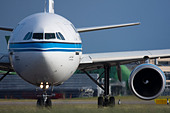 Kuwait Airways Airbus A300B4-605R taxiing for departure at London Heathrow airport. - Stock Image - B8F1G7