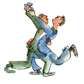 Two men dancing with each other - Stock Image - BPY1EN
