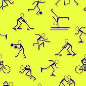 sport icons. Seamless wallpaper. - Stock Image - DNM0K6