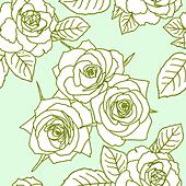 Seamless wallpaper with rose flowers - Stock Image - DNM10G