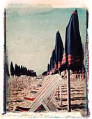 Tirrenia Beach Pisa, Italy Polaroid Transfer ©mak - Stock Image - D1CGBG