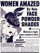 Black and white magazine advert for Poudre Tokalon face powder circa 1939 - Stock Image - BWT4CW