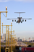 Regional airliner Landing at London City Airport, England, UK - Stock Image - CYHJ8H