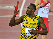 GLASGOW, SCOTLAND - AUGUST 02: Usain Bolt of Jamaica runs the anchor leg in the mens 4x100m relay during day 10 of the 20th Commonwealth Games at Hampden Park Athletics stadium on August 02, 2014 in Glasgow, Scotland. © Roger Sedres/Alamy Live News - Stock Image - E5JRG1