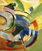 """fine arts, Marc, Franz (1880 - 1916), ""Kleine Komposition IV"", painting, 1914, Franz Marc Museum, Kochel am See, German, Expr - Stock Image - A7WDPM"