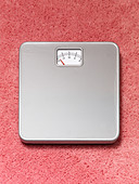 A Bathroom weighing scales on a pink fluffy carpet - Stock Image - AYWDJ6
