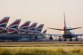 Fleet of British Airways airliners at London Heathrow Airport UK - Stock Image - C3HBTR