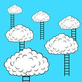Clouds with stairs, vector illustration - Stock Image - DNM091
