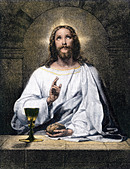 Jesus blessing bread and wine at Emmaus - Stock Image - BBJDA8