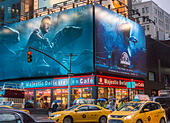 """Advertising in Times Square in New York for the summer blockbuster hit """"Jurassic World"""", seen on Tuesday, June 2 2015. The film is the fourth in the series and opens 22 years after the original.  """"Jurassic World"""" opens on June 12.  (© Richard B. Levine) - Stock Image - ERPAH1"""