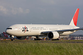 Japan Airlines - JAL Boeing 777-346/ER taxiing for departure at London Heathrow airport. - Stock Image - B7DNKE
