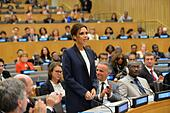 UNAIDS International Goodwill Ambassador Victoria Beckham addresses the Ending AIDS by 2030 event at the United Nations headquarters in New York City on September 25, 2014 in New York City, NY. - Stock Image - E82F37