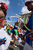 Afrocuban carnival group Los componedores de batea performing in the streets of La Habana Vieja Havana Cuba - Stock Image - B2P2JR