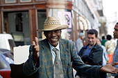 A street performer dances for crowds in the fashionable shopping street of Calle Obispo in Old Havana in Cuba West Indies - Stock Image - A3X2B6