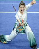 Incheon, South Korea. 20th Sep, 2014. Tai Cheau Xuen of Malaysia performs during the nandao competition of women's nanquan\nandao all-round Wushu event at the 17th Asian Games in Incheon, South Korea, Sept. 20, 2014. Tai Cheau Xuen claimed the title with 19.23 points. © Gong Lei/Xinhua/Alamy Live News - Stock Image - E7KBXG