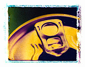 CANS ON POLAROID IMAGE TRANSFER - Stock Image - ABGDYP