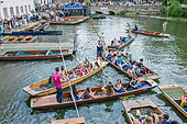 Cambridge, UK. 11th July, 2015. UK Weather: 11 July 2015, Cambridge, England, UK. Punt congestion on the River Cam as crowds enjoy the sunshine on the River Cam. © Keith Douglas News/Alamy Live News - Stock Image - EXCBN6