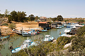 Boats in Potamos Creek, Liopetri, Larnaca, Cyprus - Stock Image - E127W9