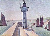 """fine arts, Signac, Paul, (1863 - 1935), painting, """"Portrieux, Le Phare"""", 1888, Rijksmuseum Kröller-Müller, Otterlo, French, n - Stock Image - BD66YJ"""
