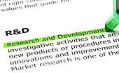 'Research and Development' highlighted in green, under the heading 'R&D' - Stock Image - C3W1HR