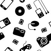Seamless background Icon  with  electronic gadgets. Could be used as seamless wallpaper, textile, wrapping paper or background - Stock Image - DNKW98