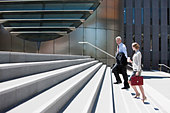 Business people walking up steps - Stock Image - BM6DHN